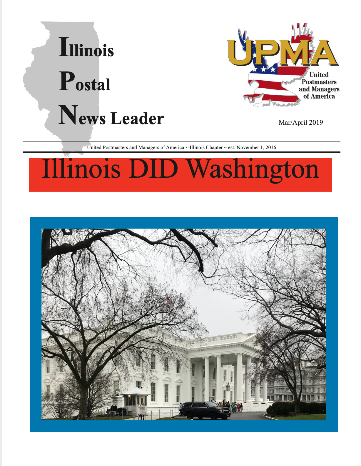 UPMA April 2020 Newsletter Cover with a picture of the white house
