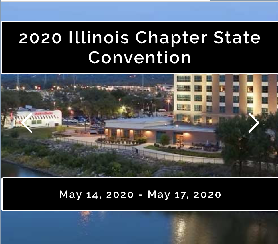 "Image of Embassy Suites hotel in Peoria with the words ""2020 Illinois Chapter State Convention"" and ""May 14, 2020 - May 17, 2020"""