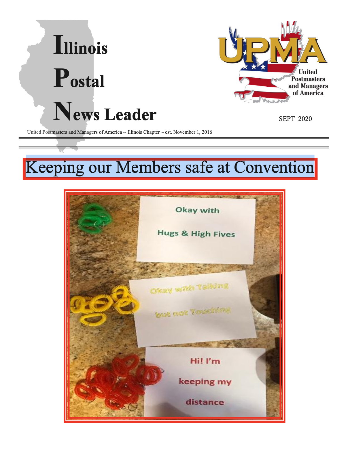 "Cover of the Illinois UPMA Newsletter for September 2020 featuring the headline, ""Keeping Our Members Safe at Convention"""